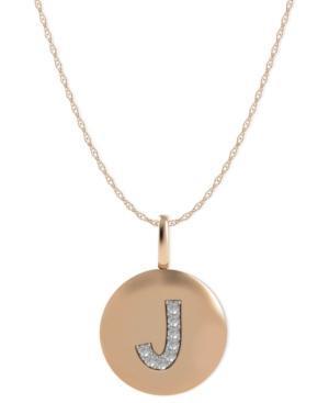 14k Rose Gold Necklace, Diamond Accent Letter J Disk Pendant
