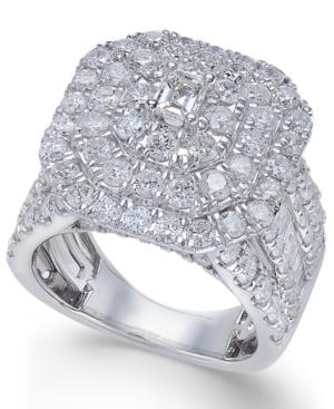 Diamond Cluster Engagement Ring (4 Ct. T.w.) In 14k White Gold