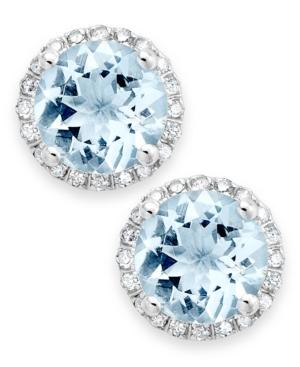 14k White Gold Earrings, Aquamarine (2 Ct. T.w.) And Diamond (1/5 Ct. T.w.) Stud Earrings
