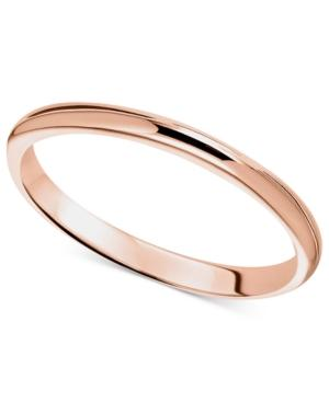 14k Rose Gold Ring, 2mm Wedding Band