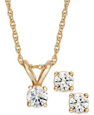 Diamond Necklace And Earrings Set, 14k Gold Round-cut Diamond Pendant And Earrings Set (1/6 Ct. T.w.)