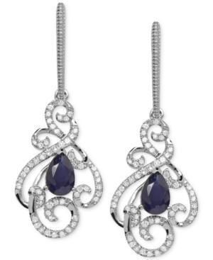 Sapphire (1 Ct. T.w.) And Diamond (1/3 Ct. T.w.) Swirl Earrings In 14k White Gold
