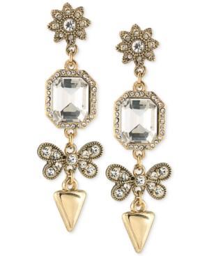Abs By Allen Schwartz Gold-tone Mixed Crystal Drop Earrings