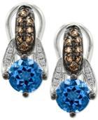 Le Vian Chocolatier Blue Topaz (2 Ct. T.w.) And Diamond (3/10 Ct. T.w.) Drop Earrings In 14k White Gold