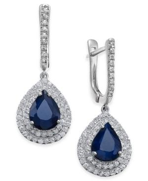 Blue Sapphire (5 Ct. T.w.) & White Sapphire (1 Ct. T.w.) Drop Earrings In 14k White Gold