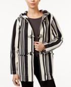 Sanctuary Hooded Striped Toggle Jacket