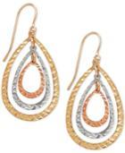 Tri-tone Teardrop Orbital Drop Earrings In 10k White, Yellow And Rose Gold