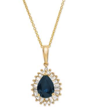 Sapphire (3/4 Ct. T.w.) & Diamond (1/4 Ct. T.w.) 16 Pendant Necklace In 14k Gold