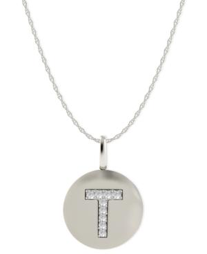 14k White Gold Necklace, Diamond Accent Letter T Disk Pendant