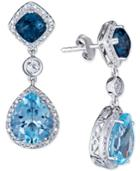 Blue Topaz (5 Ct. T.w.) & White Topaz (3/4 Ct. T.w.) Drop Earrings In Sterling Silver