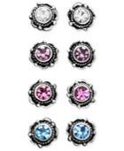 Unwritten Sterling Silver Earrings, Multicolor Cubic Zirconia Bali Studs