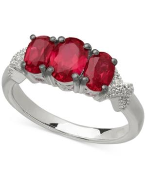 Ruby (2-3/8 Ct. T.w.) And Diamond Accent Three-stone Ring In Sterling Silver