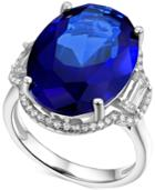 Simulated Sapphire And Cubic Zirconia Statement Ring In Sterling Silver