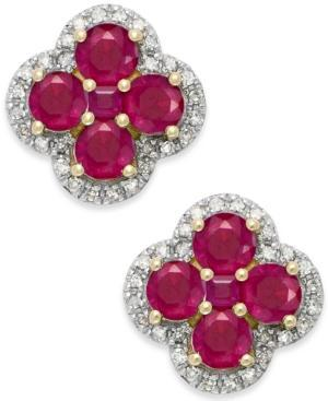 Ruby (4 Ct. T.w.) And Diamond (1/4 Ct. T.w.) Clover Earrings In 14k Gold