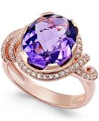 Amethyst (4-3/8 Ct. T.w.) And Diamond (1/3 Ct. T.w.) Swirl Ring In 14k Rose Gold