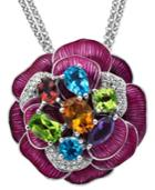 Town & Country Sterling Silver Necklace, Diamond (1/5 Ct. T.w.) And Multistone Flower Pendant