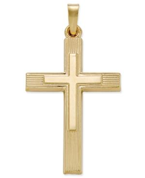 Overlay Cross Pendant In 14k Gold