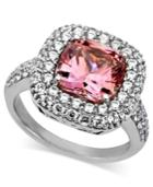 Arabella Sterling Silver Ring, Pink And White Swarovski Zirconia Two Row Cushion Cut Ring (8-3/8 Ct. T.w.)