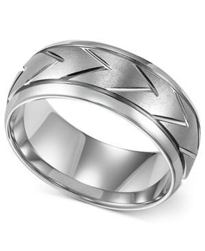 Triton Men's White Tungsten Ring, 8mm Carved Chevron Wedding Band