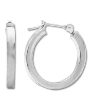 14k White Gold Earrings, Polished Hoop Earrings