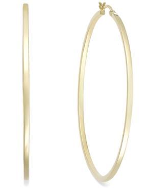 Square Tube Hoop Earrings In 14k Gold Vermeil, 60mm