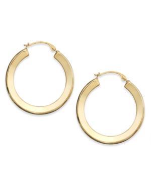 10k Gold Earrings, Polished Hoop Earrings