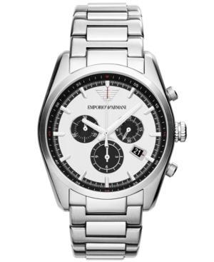 Emporio Armani Unisex Chronograph Stainless Steel Bracelet Watch 43mm Ar6007