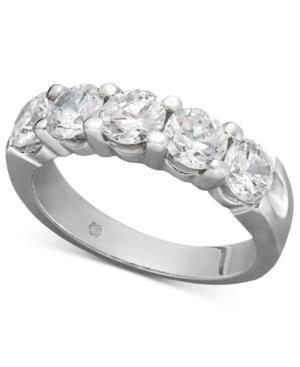 Diamond Ring, 14k White Gold Five Certified Diamond Station Band (2 Ct. T.w.)