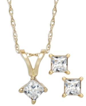 Diamond Necklace And Earrings Set, 14k Gold Princess-cut Diamond Pendant Necklace And Earrings Set (1/4 Ct. T.w.)