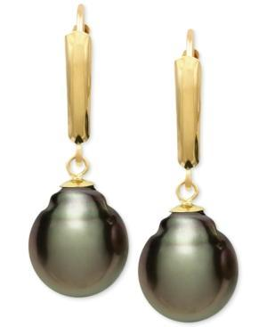 Tahitian Pearl (10mm) Leverback Earrings In 14k Gold