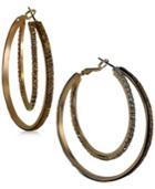 Guess Gold-tone Glitter Double Hoop Earrings