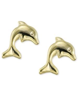 Children's 14k Gold Earrings, Dolphin