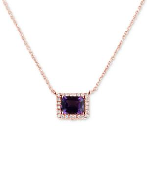 Amethyst (1-5/8 Ct. T.w.) & Diamond (1/6 Ct. T.w.) 16 Pendant Necklace In 14k Rose Gold