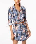 Yummy Juniors' Belted Printed Shirtdress