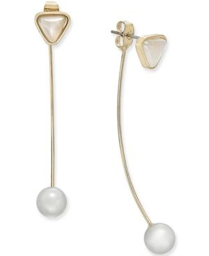 Gold-tone Imitation Pearl And Triangle Stud Front And Back Earrings