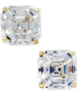 Cubic Zirconia Stud Earrings In 14k Gold