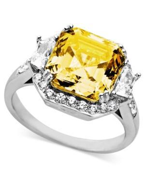 Arabella Sterling Silver Ring, Yellow And White Swarovski Zirconia Cushion Cut Ring (10-1/3 Ct. T.w.)