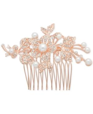 Nina Rose Gold-tone Pave & Imitation Pearl Floral Hair Pin