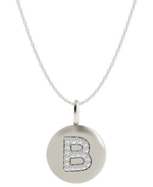 14k White Gold Necklace, Diamond Accent Letter B Disk Pendant
