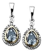 14k Gold And Sterling Silver Earrings, Aquamarine (3/4 Ct. T.w.) And Diamond Accent Teardrop Earrings