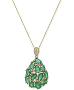 Emerald (3 Ct. T.w.) And Diamond (1/8 Ct. T.w.) Pendant Necklace In 14k Gold