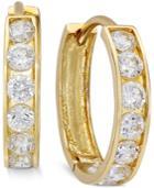 Cubic Zirconia Small Hoop Earrings In 10k Gold