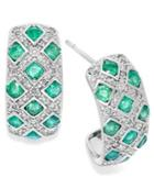 Sterling Silver Earrings, Emerald (1-1/2 Ct. T.w.) And Diamond (1/5 Ct. T.w.) Woven Earrings