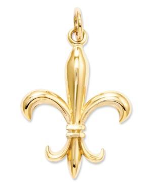 14k Gold Charm, Solid Fleur De Lis Charm
