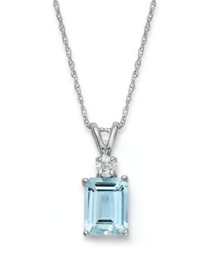 14k White Gold Necklace, Aquamarine (1-5/8 Ct. T.w.) And Diamond Accent Pendant