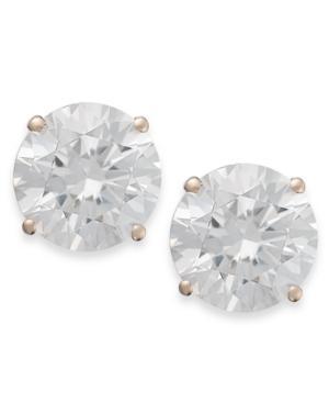 Arabella 14k Rose Gold Earrings, Swarovski Zirconia Round Stud Earrings (3-1/2 Ct. T.w.)