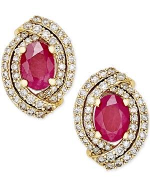 Ruby (1-1/2 Ct. T.w.) And Diamond (5/8 Ct. T.w.) Stud Earrings In 14k Gold