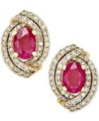 Ruby (1-1/2 Ct. T.w.) And Diamond (5/8 Ct. T.w.) Stud Earrings In 14k Gold