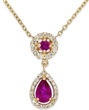 Ruby (5/8 Ct. T.w.) And Diamond (1/5 Ct. T.w.) Pendant Necklace In 14k Gold