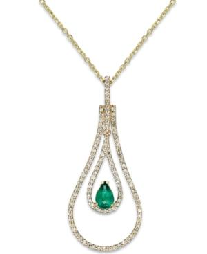 Emerald (3/8 Ct. T.w.) And Diamond (3/8 Ct. T.w.) Pendant Necklace In 14k Gold